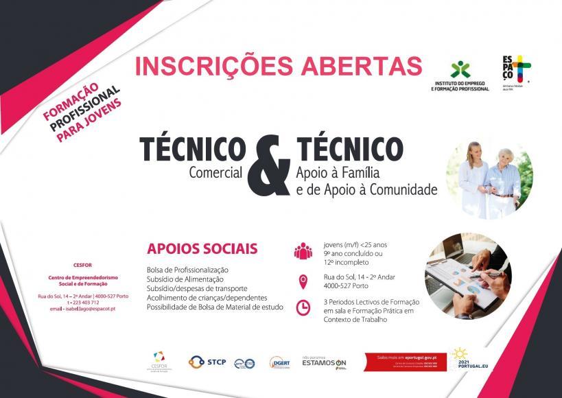 Cursos de Técnico Comercial e Técnico(a) de Apoio Familiar e à Comunidade - Aprendizagem.