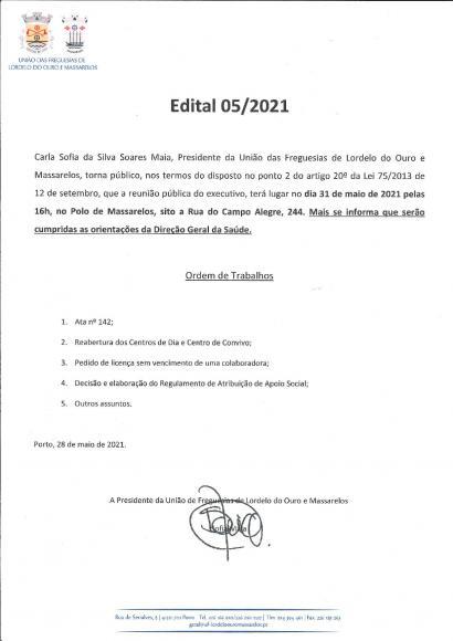 Edital da Reunião Pública do Executivo de 31 de Maio