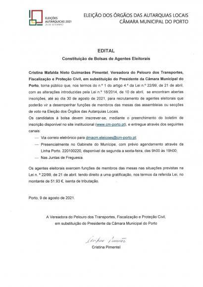 Edital para a constituição de Bolsas de Agentes Eleitorais para as Eleições Autárquicas 2021