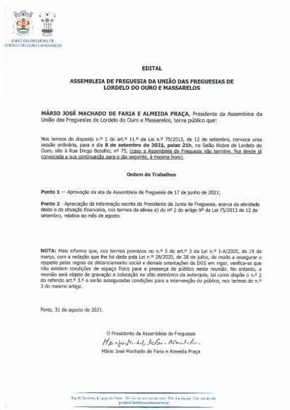 Edital da Assembleia de Freguesia de 08 de Setembro de 2021